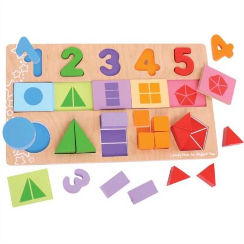 Čísla, farby, tvary - vkladačka